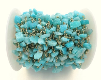 3 feet  High quality Amazonite Nugget Rosary Chain, Gold Plated Wire Wrapped Rosary Chain, Beaded Chain - 3 feet