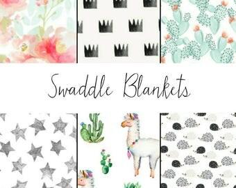 Muslin Swaddle Blankets - Gauze Baby Blanket - Swaddle Blanket - Baby Shower Gift - Desert Baby Blanket - Llama Baby Blanket - Baby Swaddler