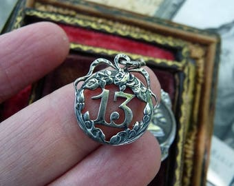 Antique French Lucky 13 Charm, Recast Lunar Talisman for the Alchemist, offered by RusticGypsyCreations