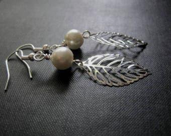 Filigree Silver Leaf Pearl Romantic Dangle Earrings
