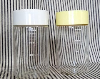 Yearly Big Sale: Vintage Pyrex See and Store Glass Canisters, Two 4 Cup Marked Containers, White and Pale Yellow Lid