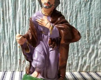 Yearly Big Sale: Vintage Chalkware Nativity Joseph, Italy Plaster Composite Creche Figurine, Replacement