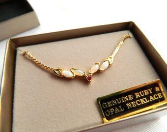 "Vintage Gold Plated Genuine Opal & Ruby Necklace - 18"" Herringbone Chain - Original Display Gift Box - NIB - Signed SEDGWICK"