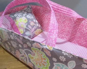 Doll Carrier, Will Fit Bitty Baby and Wellie Wisher Dolls, Paisley with Pink Lining, 16 Inches Long, Doll Basket