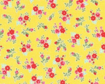 Small Floral in yellow from the Flower Sugar Berry Fall 2017 fabric collection by Lecien of Japan - 31515L-50