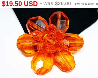Lucite MOD Flower Brooch - Signed Germany - Plastic Orange  Faceted Petals  MId Century 1960s European Flower Power Daisy Pin