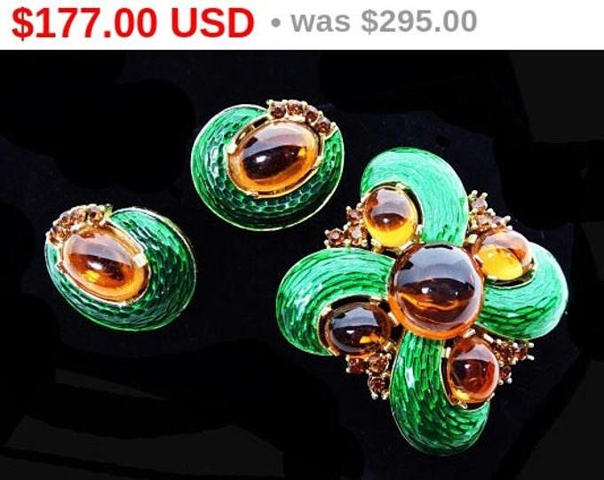 Summer Sizzler Sale Crown Trifari Brooch Earrings Demi Set - Green Enamel Snake Skin, Golden Topaz Glass Cab - L'Orient series, Alfred Ph...