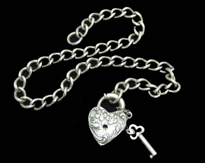 Sterling Silver Heart Padlock and Dangling Skeleton Key, Vintage 1800's Lock & Key on Classic Silver Chain Bracelet