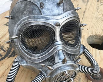 Silver Pewter 'MAD MAX' Fury Road Steampunk Festival Masquerade Burning Man Full Face Mask with Spikes and Tubes - A Burning Man Must Have
