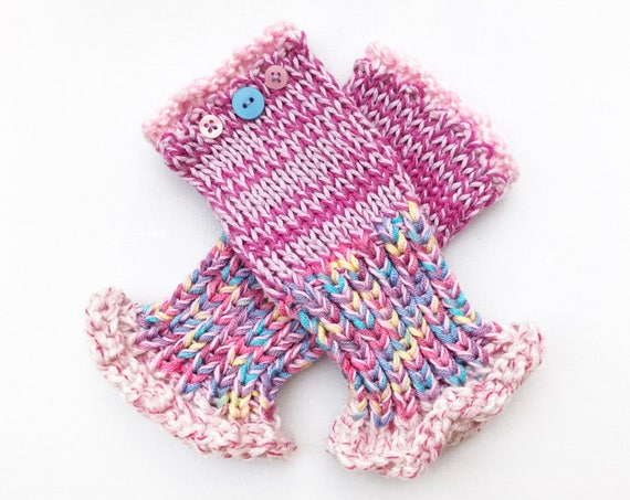 Pink Fingerless Mittens - Sherbet Pink Frilly Fingers - Ladies' Pink Fingerless Mittens with Frilly Cuffs - Gift for Mom - Mother's Day Gift