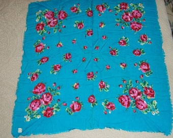 Vintage Beautiful Head Neck Scarf Never Used Original Price Tag Rayon Challis Made in Japan Floral Teal Red Green Yellow Hand Fringed