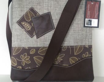 SALE Tote: Brown Leather and Leaves