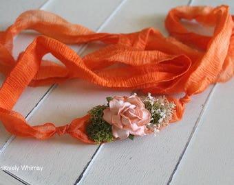 Orange Tieback, Orange Headband, Organic Tieback, Flower Tieback, Newborn Tieback, Newborn Headband, Baby Girl Tieback, RTS