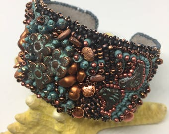 Handmade Bead Embroidery Cuff Bracelet leather Medallion Topper Birdies in my Garden