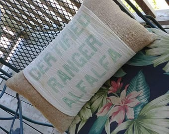 Rustic accent pillow from vintage seed bag and burlap