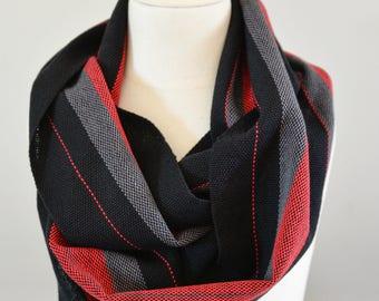 Men's Scarf Handwoven Cotton Loop, Red Grey + Black