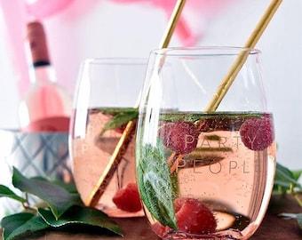 GoVino Stemless Wine glass, Re-usable, shatterproof, Monogrammed Wine glass