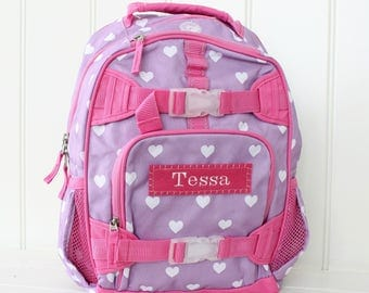 Small Backpack With Monogram  (Small Size) -- Purple/Pink Heart