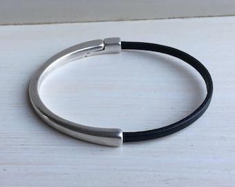 Mini BLACK leather cuff BRACELET half leather, half metal magnetic SILVER clasp bracelet