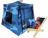 Toy Pop Up Tent, Sleeping Bags, blue & black camouflage print fabric for dolls, action figures or stuffed animals