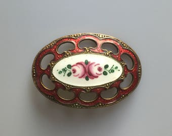 Pretty antique late Edwardian to 1920s guilloche and hand painted enamel flower brooch