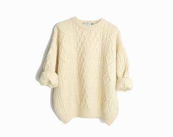Vintage Cable Knit Wool Fisherman Sweater in Ivory Cream / Irish Fisherman Sweater - women's medium petite
