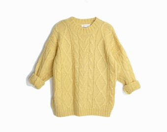 Vintage 90s Cable Knit Mohair Sweater in Buttermilk - women's small
