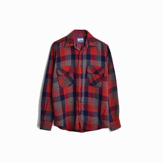 Vintage Plaid Wool Lumberjack Shirt / Red Plaid Shirt / Boyfriend Shirt - men's small