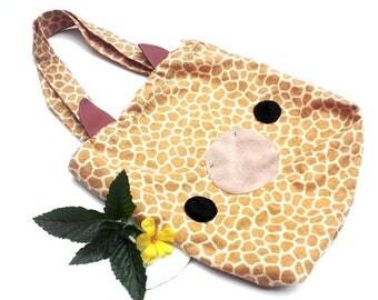 ON SALE - Giraffe Tote Bag - Schoolbag, Backpack, Bookbag, Animal Tote Bag, Reusable Bag, Colorful Handmade Tote, Women's Tote,  Christmas G