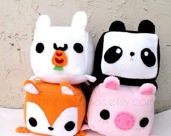ON SALE - Animal Plush - Kawaii Plushie , Cute Stuffed Animal, Children Softie, Children's Toy, Rabbit, Fox, Pig, Panda, Christmas Gift
