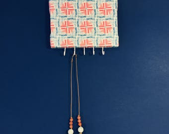 Pinwheel Geometric Watercolor Printed Fabric Upholstered Jewelry Holder With Hooks for Hanging Necklaces