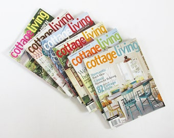 Bundle of Cottage Living Magazine Back Issues - 6 Issues with Decorating & Cooking Ideas