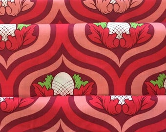 One Yard-  Tula Pink Nest Moda Rare  OOP Fabric for Moda Sunset Nest Egg -Red pink