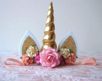 Birthday Unicorn Headband - Pink - Peach - Yellow - Gold Horn - Flowers - Number 1 - Second - First Birthday Unicorn Headband - Baby
