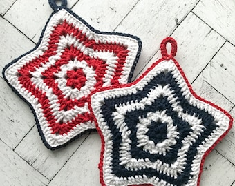 Red, White and Blue Pot Holders | star potholders | crochet pot holders | patriotic | americana | kitchen accessories