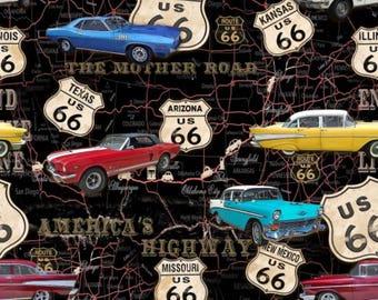 Blank Quilting American Dream Black Cars On Map fabric - 1 yard
