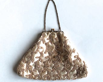 Vintage 1950's Charlet Champagne colored Beaded Triangular Clutch Purse!