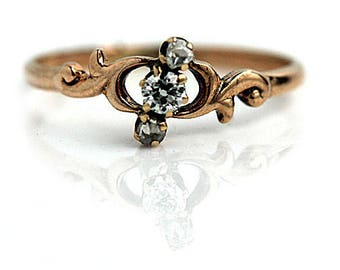 Antique Rose Gold Engagement Ring .30ctw 14K Victorian Rose Gold Diamond Ring Mine Cut Diamond Vintage Ethical Diamond Ring Conflict Free!