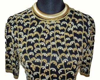Vintage Black Tie Oleg Cassini Black Gold Silver Beaded Dress Sz 2