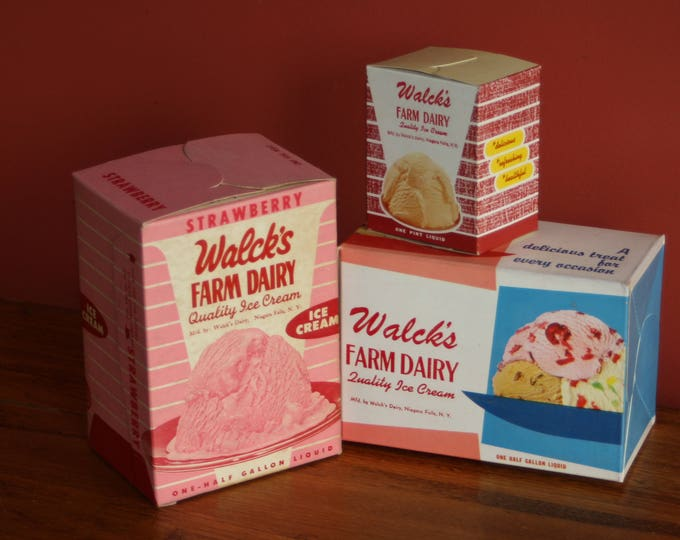 Vintage Dairy Advertising: 1950s Ice Cream Cartons, New Old Stock Ice Cream Boxes, Warehouse Find!