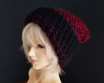 Red to black ombre - hipster BJD beanie size 22cm