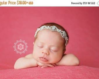 ON SALE Newborn Rhinestone Headband, baby headband, bling headband, baby halo headband, newborn photography prop