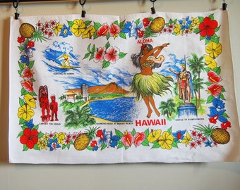 Hawaii Hula Girl Vintage Souvenir Tea Towel Cotton Hawaiian