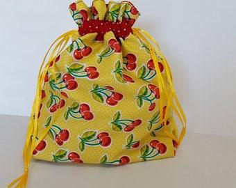 Simple Sock Bag: Yellow Cherries