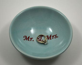 Blue Porcelain Ring Dish/ Mr. and Mrs. Ring Dish/ Custom Ring Dish/ Blue Porcelain Ring Dish/ Something Blue/ Wedding Gift