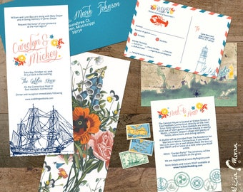 Wedding Invitation Suite: SAMPLE (Nautical, Ship, Lobster, Map, Lighthouse, Sailing, Cape Cod, Nantucket, New England)