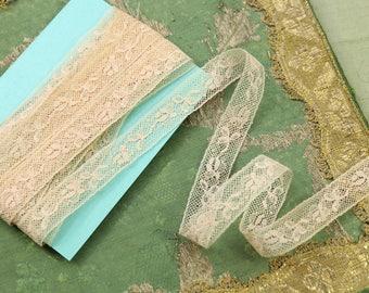 """4.5 yards antique vintage cotton lace 9/16"""" wide peachy ecru flapper lingerie alencon french trim dolls dress"""