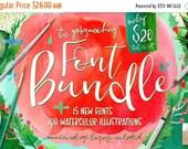 80% OFF Digital fonts Bundle, 92  Percent OFF Sale, modern Calligraphy, Script, Wedding, Invites, Handpainted Watercolor Clipart, Digital Pa