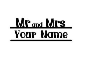 Personalized  Mr and Mrs Vinyl Decal Sticker