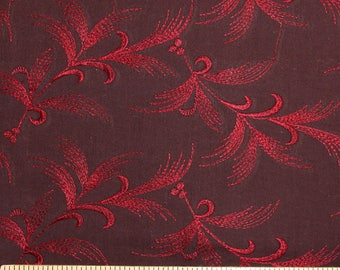 Burgundy and Red Embroidered Feather Woven Cotton, 1 Yard